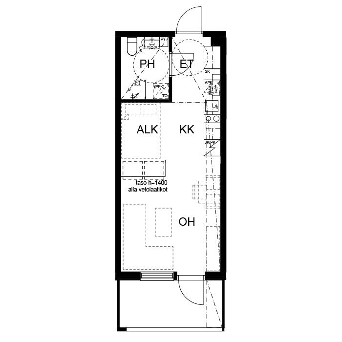 B54, kerros 6, 1h+kk+alk